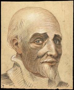 EST 513 PFFrugès Portrait de Montaigne au fusain et au pastel (de profil)